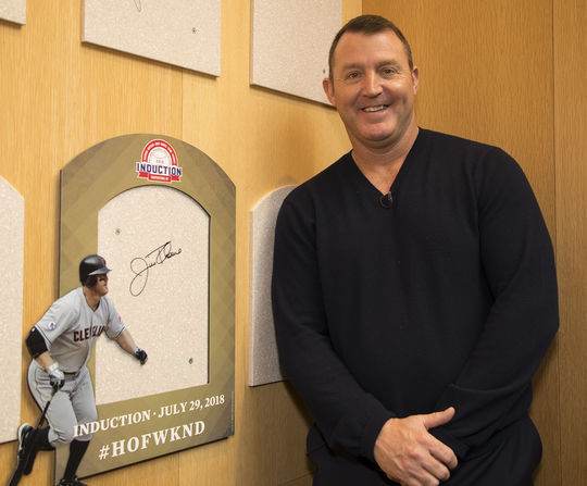Jim Thome poses next to his signed plaque backer during his Orientation Visit at the Hall of Fame on Feb. 27, 2018. (Milo Stewart Jr./National Baseball Hall of Fame and Museum)