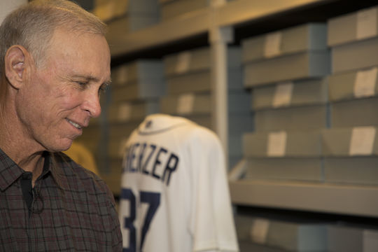 During his Orientation Visit to the Hall of Fame on March 15, Alan Trammell pauses to look at artifacts in the Museum's collection, including a Max Scherzer jersey worn by the former Tigers' pitcher in 2013. (Milo Stewart Jr./National Baseball Hall of Fame and Museum)
