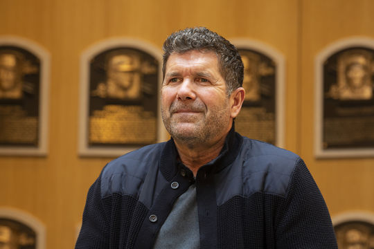 Edgar Martinez speaks to the media during his Hall of Fame Orientation Visit on April 8, 2019. (Milo Stewart Jr./National Baseball Hall of Fame and Museum)