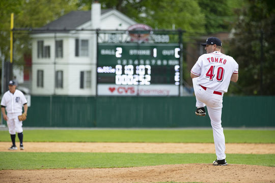 Brett Tomko threw two scoreless innings during the 2019 Hall of Fame Classic at Doubleday Field. (Milo Stewart Jr./National Baseball Hall of Fame and Museum)