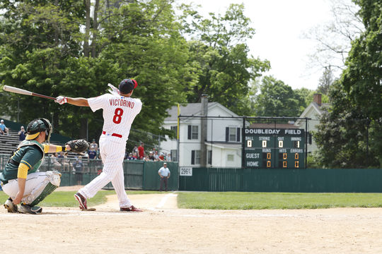 Shane Victorino connects on a pitch during the 2018 Hall of Fame Classic. Victorino was later named the Bob Feller Player of the Game Award winner. (Milo Stewart Jr./National Baseball Hall of Fame and Museum)
