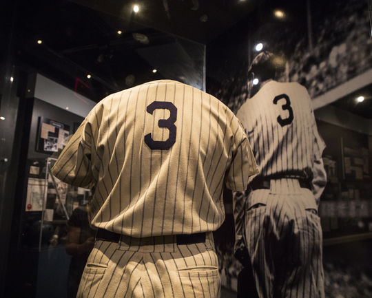 The Babe Ruth jersey on display in the Museum's <em>Babe Ruth: His Life and Legend</em> exhibit was given to the Hall of Fame on June 13, 1948, the day Ruth's No. 3 was officially retired by the Yankees. (Milo Stewart Jr./National Baseball Hall of Fame and Museum)