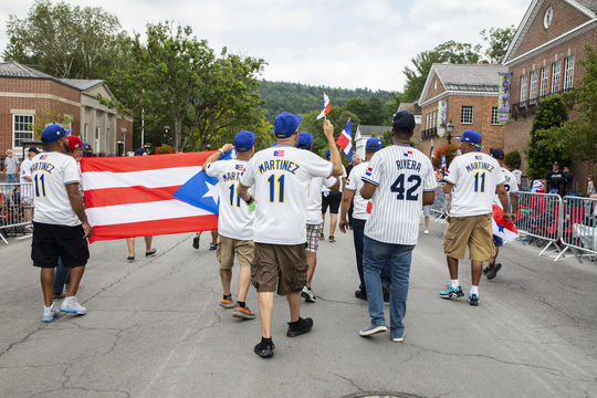 Fans celebrate the inductions of Mariano Rivera and Edgar Martinez in Cooperstown during Hall of Fame Weekend 2019. (Milo Stewart Jr./National Baseball Hall of Fame and Museum)