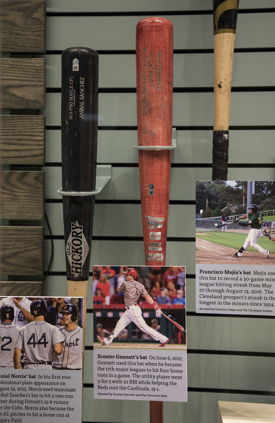 Scooter Gennett's Show bat is currently on display in the Museum's <em>Whole New Ballgame</em> exhibit. (Milo Stewart Jr. / National Baseball Hall of Fame and Museum)