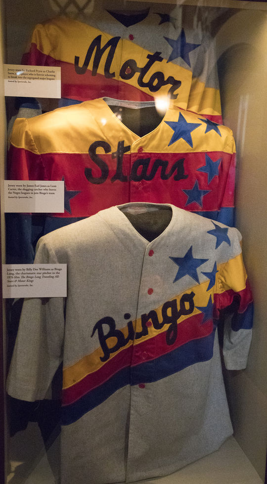 These jerseys from <em>The Bingo Long Traveling All-Stars & Motor Kings</em> film are currently on display at the Hall of Fame. (Milo Stewart Jr./National Baseball Hall of Fame and Museum)