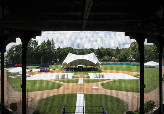 Doubleday Field will be the site of Saturday's Hall of Fame Awards Presentation, where Rachel Robinson will receive the Buck O'Neil Lifetime Achievement Award, Claire Smith will receive the J.G. Taylor Spink Award and Bill King will be posthumously honored with the Ford C. Frick Award. (Milo Stewart Jr./National Baseball Hall of Fame and Museum)
