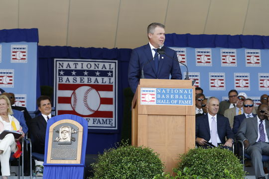 Chipper Jones shares his stories and memories during his speech in front of the second-largest crowd in <em>Induction Ceremony</em> history. (Milo Stewart Jr./National Baseball Hall of Fame and Museum)