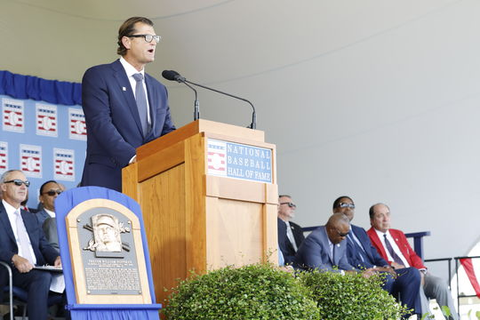 In his Induction Speech, Trevor Hoffman spoke about the support of his family throughout his 18-year big league career. (Milo Stewart Jr./National Baseball Hall of Fame and Museum)