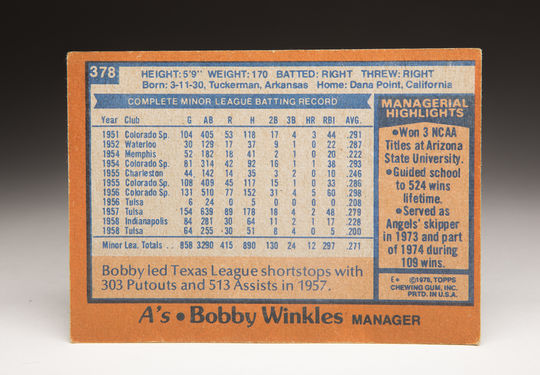 The reverse side of Bobby Winkles' 1978 Topps Manager card. (Milo Stewart Jr. / National Baseball Hall of Fame and Museum)