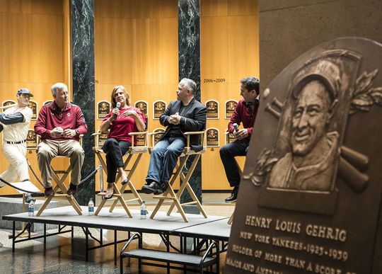 Pete Frates' father, mother, agent and former baseball coach discussed Pete's fight against ALS when the Boston College men's baseball team visited the Hall of Fame in 2017. (Milo Stewart Jr./National Baseball Hall of Fame and Museum)