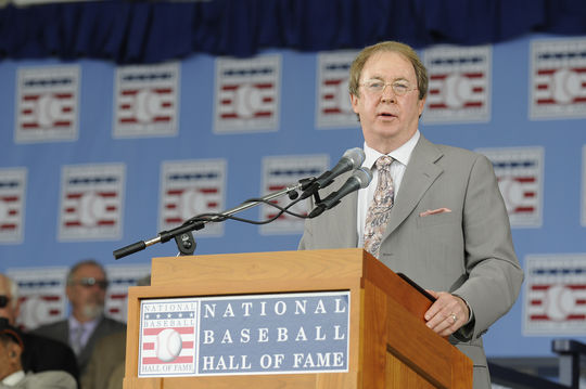 Bill Madden, pictured above accepting the 61st J.G. Taylor Spink Award in Cooperstown, grew up reading the likes of future Spink Award winners Damon Runyon, Red Smith and Dick Young.  (Milo Stewart Jr. / National Baseball Hall of Fame and Museum)