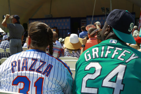 Ken Griffey Jr. and Mike Piazza fans were well represented at today's <em> Induction Ceremony </em>, as the crowd of 50,000 featured a sea of blue and orange, as well as green and white. (Larry Brunt / National Baseball Hall of Fame)