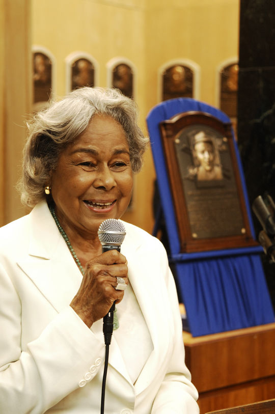 Rachel Robinson addresses fans and media at the Hall of Fame on June 25, 2008, when Jackie Robinson's plaque was rededicated. (Milo Stewart Jr./National Baseball Hall of Fame and Museum)