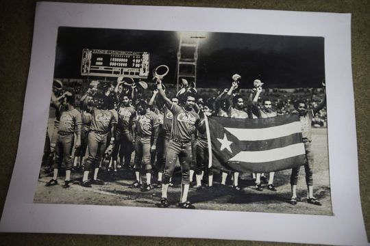 A photo of a Cuban championship team is housed at Palmar de Junco, on January 10, 2015 in Matanzas, Cuba. Palmar de Junco hosted Cuba's first professional baseball game in 1874. (Jean Fruth / National Baseball Hall of Fame)