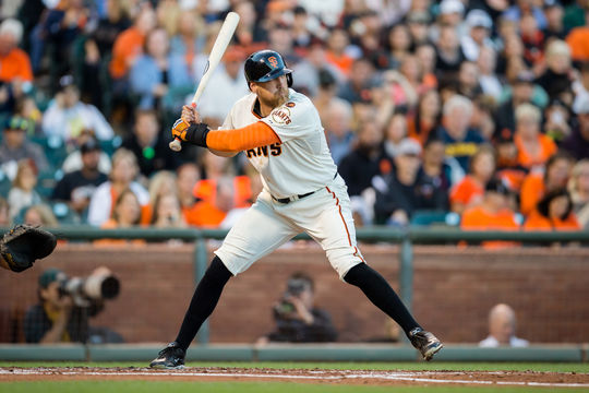 Hunter Pence of the San Francisco Giants bats during the game against the Houston Astros at AT&T Park on August 11, 2015. (Jean Fruth / National Baseball Hall of Fame)