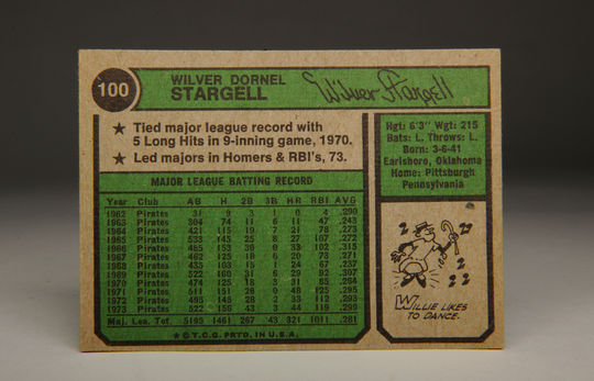 The reverse side of the 1974 Willie Stargell Topps card. (Milo Stewart Jr. / National Baseball Hall of Fame)