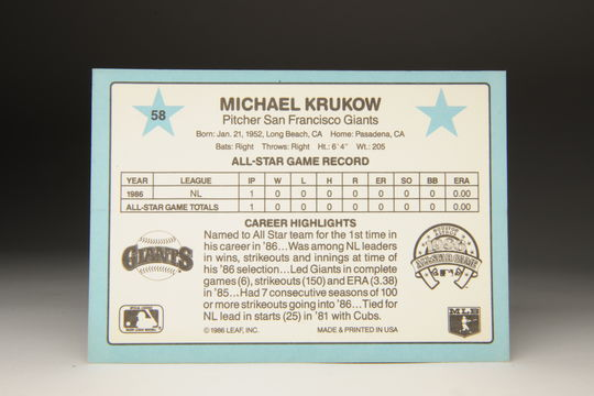 The reverse side of the 1987 Mike Krukow Donruss card. (Milo Stewart Jr. / National Baseball Hall of Fame)