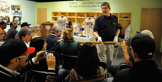 Hall of Fame vice president of exhibitions and collections, Erik Strohl, gives the backstory on artifacts from the collection during an Artifact Spotlight. (Milo Stewart, Jr. / National Baseball Hall of Fame)