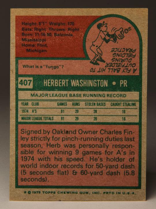 Reverse side of 1975 Herb Washington Topps card. (Milo Stewart, Jr. / National Baseball Hall of Fame)
