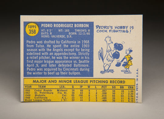 The reverse side of Pedro Borbon's 1970 Topps card. (Milo Stewart Jr. / National Baseball Hall of Fame)