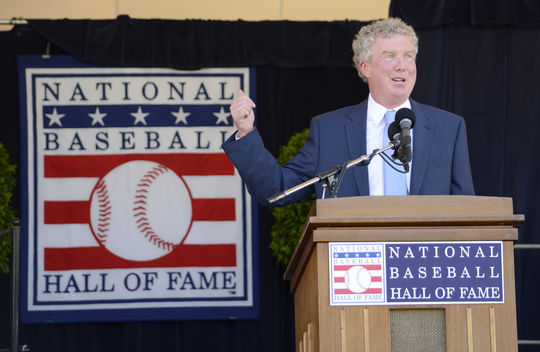 Dan Shaughnessy speaks to a crowd at Doubleday Field, shortly after receiving the J.G. Taylor Spink Award for meritorious contributions to baseball journalism. (Milo Stewart Jr. / National Baseball Hall of Fame)