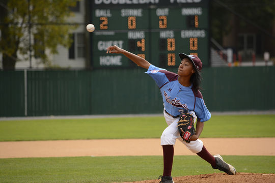 In 2014 Mo'ne Davis captured the heart of America as the first girl to record a win in the Little League Baseball World Series. Her Mid-Atlantic Region jersey is on display in the <em>Whole New Ballgame</em> exhibit. (Milo Stewart Jr. / National Baseball Hall of Fame)