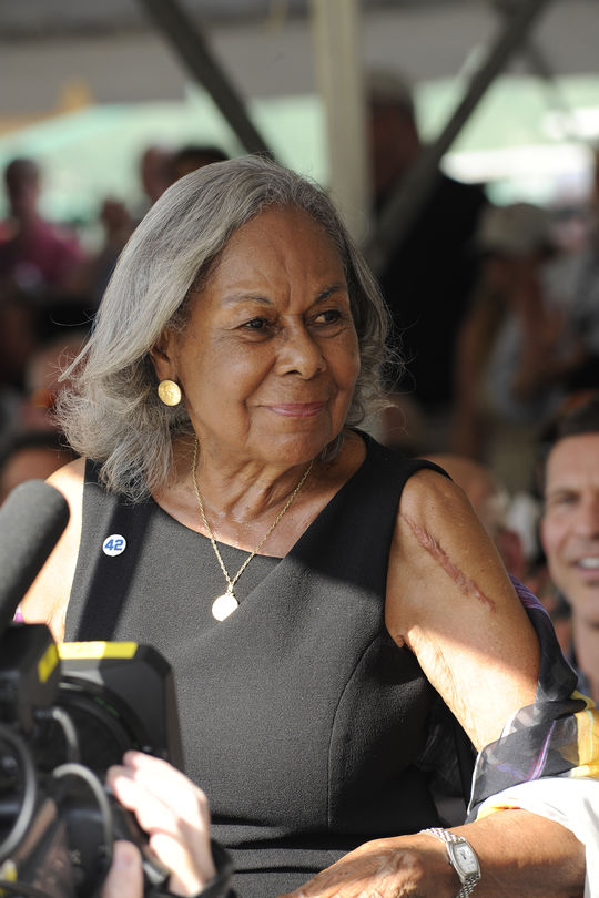 "Rachel Robinson attended Hall of Fame Weekend 2013 in Cooperstown as the Museum honored the film ""42"", which chronicled her husband Jackie Robinson's path to the big leagues in 1946 and '47. (Milo Stewart Jr./National Baseball Hall of Fame and Museum)"