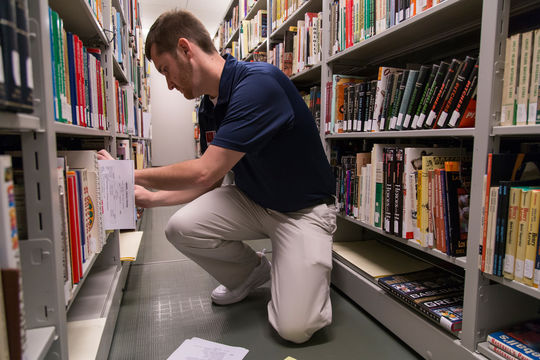 Adam Lathrop was a 2015 library intern in the Frank and Peggy Steele Internship Program at the National Baseball Hall of Fame and Museum. (Parker Fish / National Baseball Hall of Fame Library)