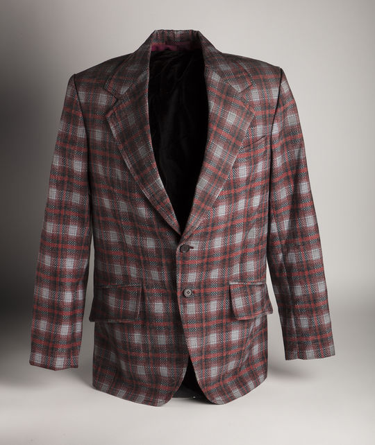This jacket used by Hank Azaria during his filming of <em>Brockmire</em> is among the artifacts Azaria recently donated to the Hall of Fame collection. (Milo Stewart Jr./National Baseball Hall of Fame and Museum)