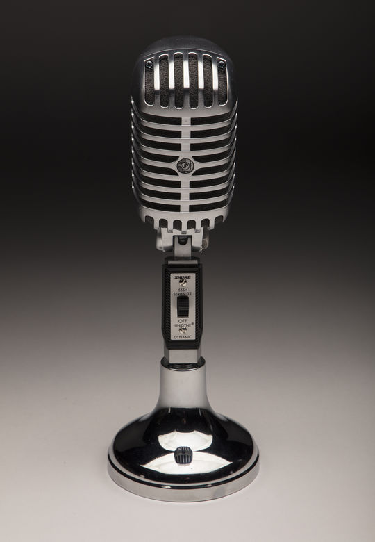 Hank Azaria used this microphone during the filming of his new television series, <em>Brockmire</em>, on IFC. It is currently on display as part of the <em>Scribes and Mikemen</em> exhibit at the Hall of Fame. (Milo Stewart Jr./National Baseball Hall of Fame and MuseuM)