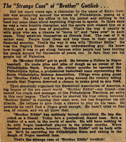 Excerpt from Wendell Smith article in the <cite>Pittsburgh Courier</cite>, February 8, 1947 <a href=483 target=new>Link to more on Eddie Gottlieb</a>