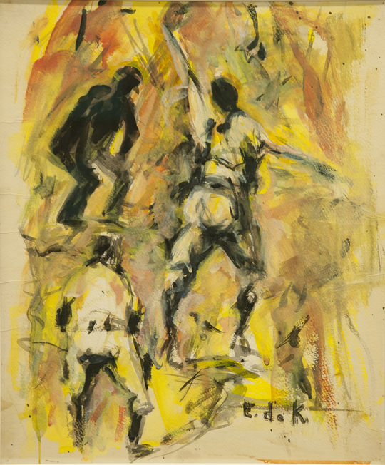 "De Kooning was an avid baseball fan who was fascinated by their ""stances,"" and traveled with the New York Yankees and Baltimore Orioles in 1953 and 1954. This is her painting, ""The Baseball Catch,"" now on display in the Frank and Peggy Steele Art Gallery at the Baseball Hall of Fame. (Milo Stewart Jr. / National Baseball Hall of Fame)"