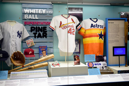 The Whole New Ballgame exhibit tells the story of baseball from 1970 to today. (Mitch Wojnarowicz/National Baseball Hall of Fame and Museum)