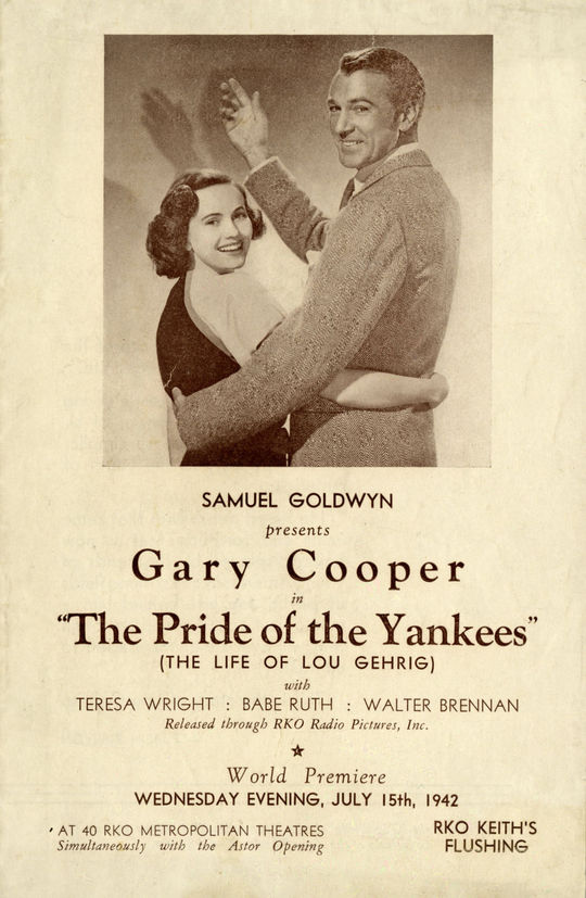 A program for the 1942 film <em>Pride of the Yankees</em>, featuring Teresa Wright as Eleanor Gehrig (left) and Gary Cooper as Lou Gehrig. (National Baseball Hall of Fame and Museum)
