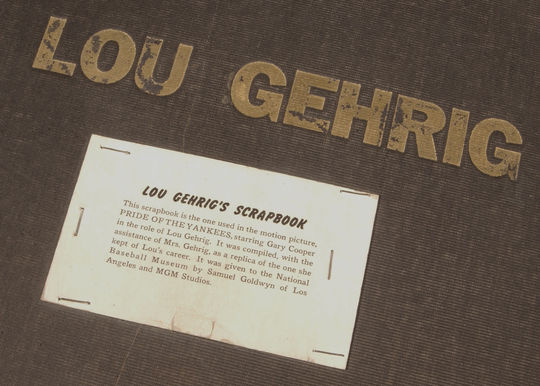 Scrapbook used in the motion picture <cite>The Pride of the Yankees</cite> BL-4.43 (Milo Stewart, Jr. / National Baseball Hall of Fame Library)