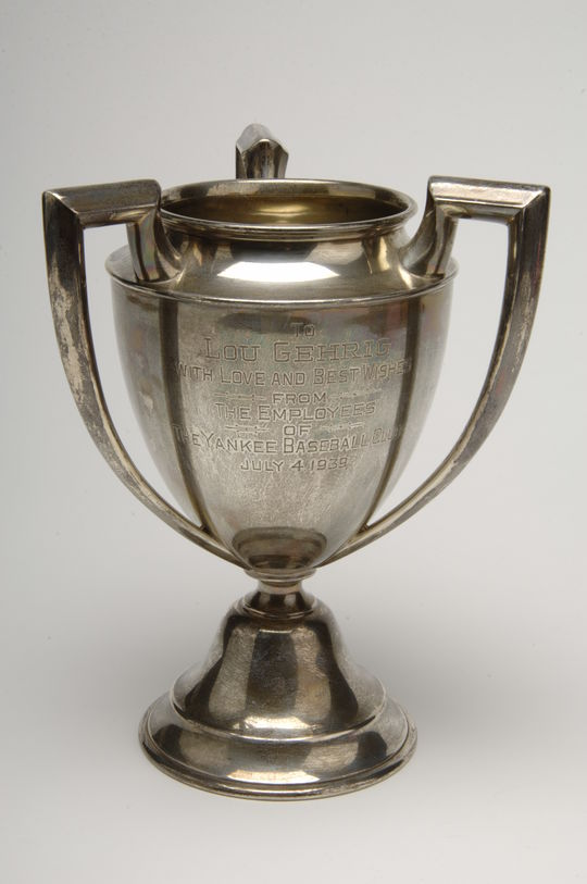 Tri-handled cup presented to Lou Gehrig - B-45.85 (Milo Stewart Jr./National Baseball Hall of Fame Library)