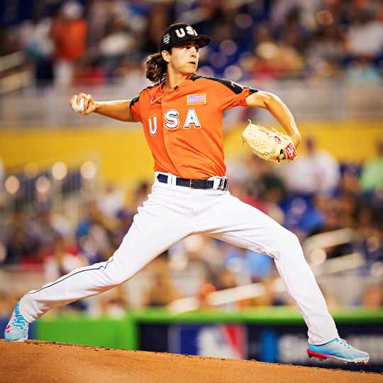 Brent Honeywell delivered an MVP-worthy performance at the 2017 All-Star Futures Game, tossing two scoreless innings, striking out four and only allowing only one hit for Team U.S. (Jean Fruth / National Baseball Hall of Fame and Museum)