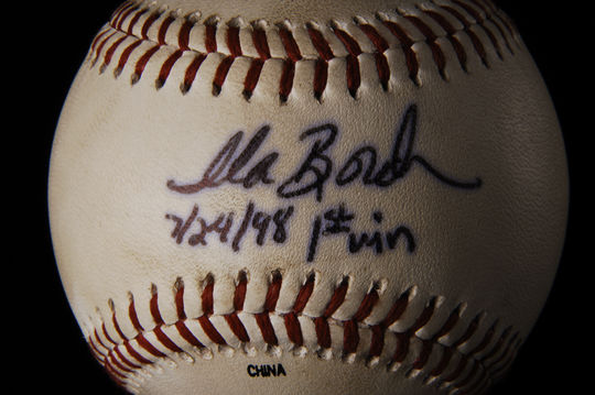 Ila Borders threw this baseball in a July 24, 1998, game between the Duluth Dukes and the Sioux Falls Canaries when she recorded her first victory in pro baseball. (Milo Stewart Jr./National Baseball Hall of Fame and Museum)