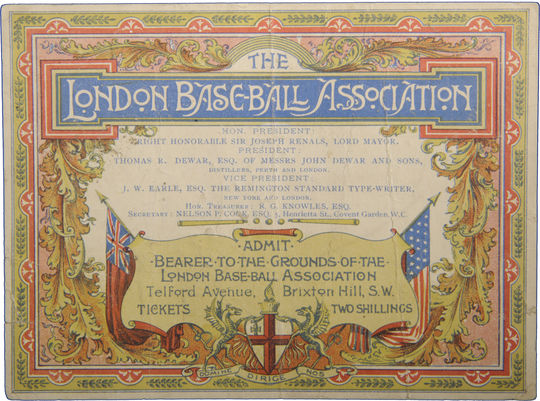 Ticket issued in 1895 by the London Base-Ball Association, an early baseball organization in England. - B-97.46 (National Baseball Hall of Fame Library)