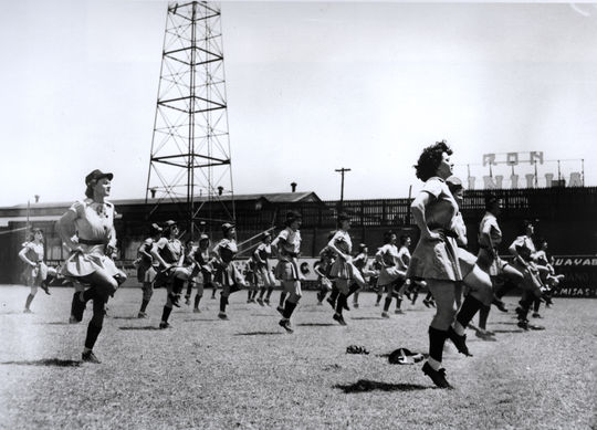 "Players in the AAGPBL loosening up at spring training at ""The Gran"" in Havana, Cuba, 1947. - BL-3302.98 (National Baseball Hall of Fame Library)"