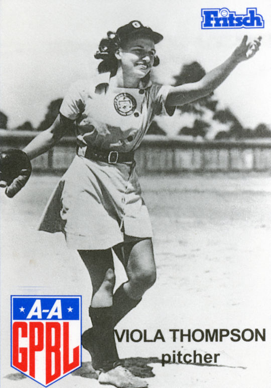 Larry Fritsch baseball card for Viola Thompson of the AAGPBL issued in 1995. (Private collection)