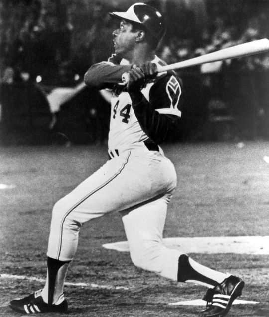 On April 8, 1974, Hank Aaron broke Babe Ruth's home run record. - BL-1565.81 (National Baseball Hall of Fame Library)