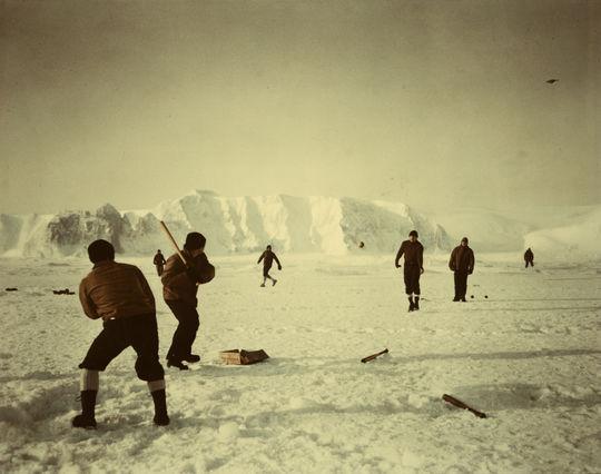 A 1953 baseball game on ice off Alaska's Saint Lawrence Island in the Bering Sea. B-495.53 (National Baseball Hall of Fame Library)