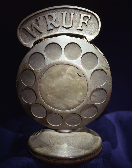 Station WRUF microphone belonging to Red Barber - B-4-94 (National Baseball Hall of Fame Library)