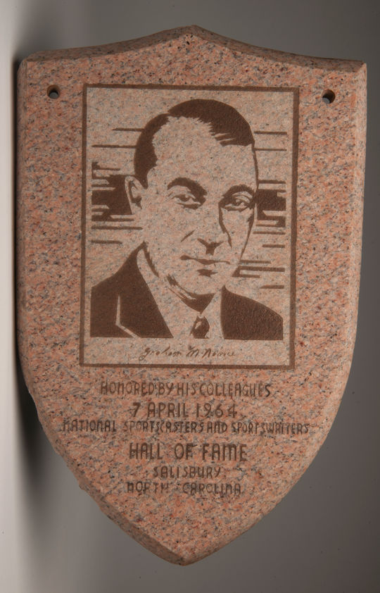 Plaque honoring McNamee by the National Sportscasters and Sportswriters Association Hall of Fame when he was inducted in 1964. B-355.68 (Milo Stewart, Jr. / National Baseball Hall of Fame)