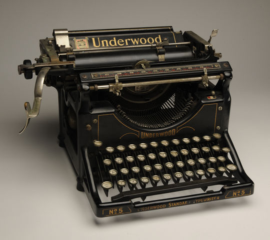 John Kieran, who won the J.G. Taylor Spink Award in 1973, used this typewriter during a career that featured a stint covering baseball for the <em>New York Times</em> from 1922-27. The Baseball Writers' Association of America handed out the first Spink Award in 1962 to J.G. Taylor Spink, former editor of the <em>Sporting News</em>.