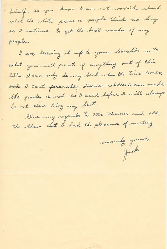 Jackie Robinson to Wendell Smith, October 31, 1945, page 2 - 001BL-1009-2001b (National Baseball Hall of Fame Library) <a href='http://bhof-staging.cogapp.com/node/456'>Detailed Image</a>
