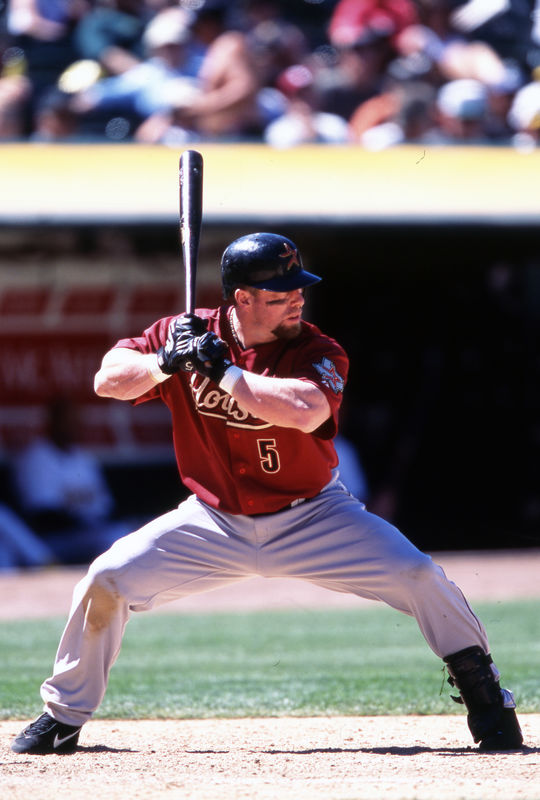 Jeff Bagwell of the Houston Astros batting in game, June 9, 2002 (Brad Mangin/National Baseball Hall of Fame Library)
