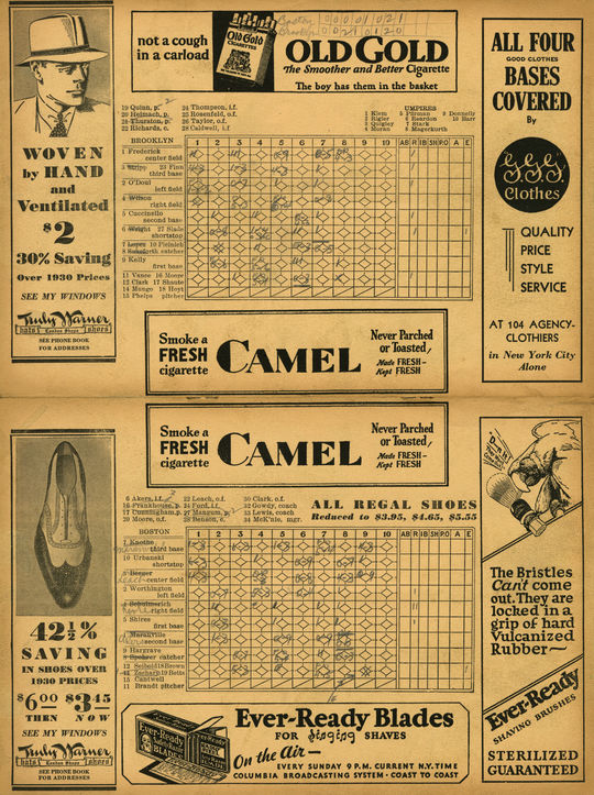 This scorecard, from the second game of the June 4, 1932, doubleheader between the Boston Braves and Brooklyn Dodgers, provides uniform numbers for the Braves. The Dodgers' numbers corresponded to what was placed on the Ebbets Field scoreboard. Boston was the first National League to adopt uniform numbers, just before the 1932 season began. BL-3074-74 (National Baseball Hall of Fame Library)