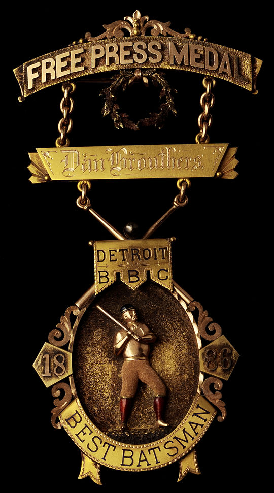 "Medal presented to Dan Brouthers ""Detroit Baseball Club, best batsman 1886."" - B-293-56  (Milo Stewart Jr./National Baseball Hall of Fame Library)"